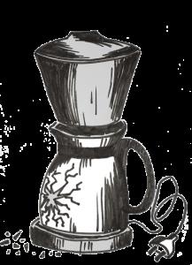 schets van kapotte koffiezetmachine