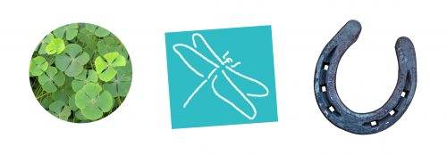 symbolen voor geluk klaver vier hoefijzer en libel logo